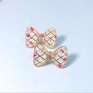 Hearts & Floral Bow Kawaii Handmade Stud Earri…